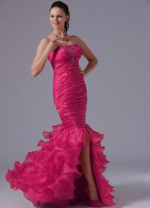 Nice Coral Red Ruched and Ruffled Mermaid Prom Dress with Lace Up Back