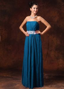 Blue Strapless Floor-length Prom Gown Dress with Ruching and Appliques