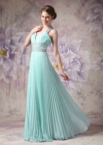 Lovely Pleated Floor-length Dresses for Prom in Apple Green with Beading