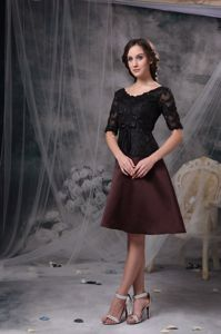 Black and Brown A-line Dresses for Prom in Knee-length with Half Sleeves