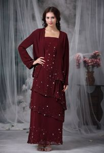 Burgundy Straps Empire Floor-length Dress for Prom with Beading in Healy