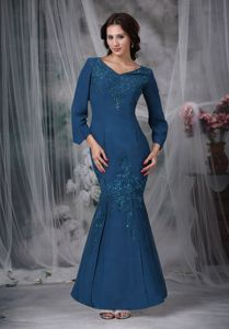 V-neck Long Sleeves Mermaid Dresses for Prom in Steel Blue with Beading