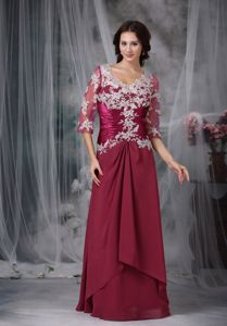 Red V-neck Half Sleeves Floor-length Prom Gown Dresses with Appliques