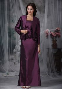 Taffeta Dark Purple Ankle-length Prom Dresses with Appliques in Alvarado