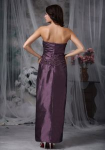 Strapless Column Ankle-length Prom Dresses in Dark Purple with Ruching