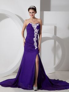 Best Chiffon Purple Sweetheart Prom Dresses with Appliques and High Slit
