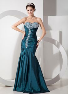 Modern Teal Sweetheart Mermaid Prom Dresses with Beading and Ruching