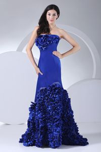 Royal Blue Floor-length Mermaid Prom Dresses with Hand Made Flowers
