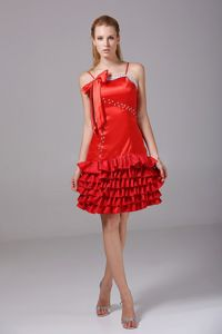 Red Straps Knee-length Dress for Prom with Ruches and Bowknot in Healy