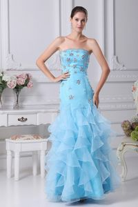Beaded and Ruffled Floor-length Mermaid Prom Gown Dress in Aqua Blue
