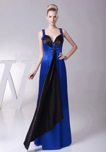 Straps Floor-length Empire Prom Outfits in Blue and Black with Ruching