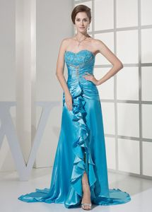 Teal Beaded Sweetheart Prom Gown with Brush Train and Ruches in Bethel