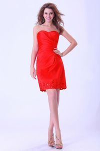 Sweetheart Mini-length Red Prom Gown Dresses with Ruches in Brookside