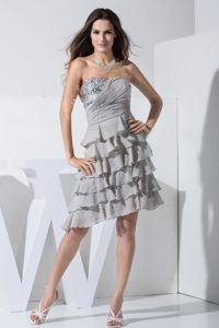 Grey Sweetheart Prom Gown Dresses with Sequins and Ruffles in Brewton