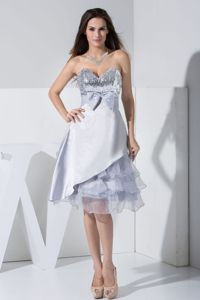 Grey Sweetheart Knee-length Prom Gown Dress with Sequins and Bowknot