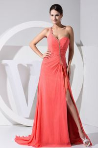High Slit One Shoulder Dresses for Prom in Watermelon Red with Beading