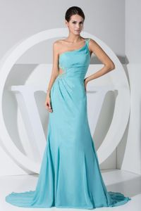 Baby Blue One Shoulder Prom Gown Dress with Brush Train in Fort Payne