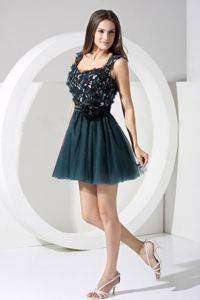 Popular Short Prom Outfits in Dark Green with Appliques and Cutout Back
