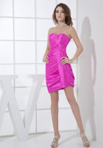Sweetheart Sheath Short Prom Attires in Magenta with Ruching in Florence