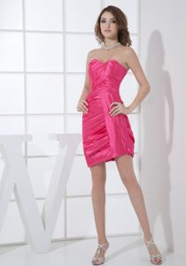 Hot Pink Ruched Sweetheart Neckline Mini-length Prom Dresses in Geneva