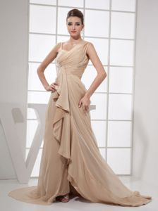 Ruched Asymmetrical Neck Champagne Prom Gown Dress with Brush Train