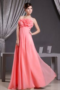 Strapless Floor-length Watermelon Dress for Prom with Flowers in Chelsea