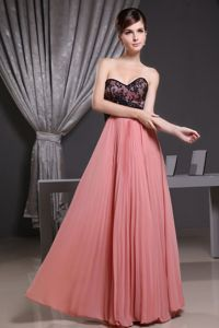 Watermelon Red Pleated Prom Gown Dress with Sweetheart in Floor-length
