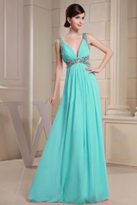 Sexy V-neck Floor-length Prom Dress in Turquoise with Beading in Akron