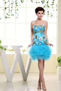 Baby Blue Strapless Short Prom Dress with Appliques and Ruffles in Guin