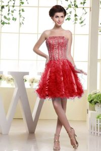 Beaded Strapless Mini-length Prom Attire in Red with Beading and Ruffles