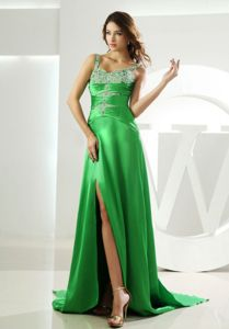 Beaded and High Slit Spring Green Prom Gown with Watteau Train in Elba