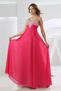 Straps Floor-length Prom Dresses in Hot Pink with Beading in Courtland