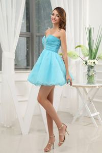 Organza Sweetheart Mini-length Prom Outfits in Aqua Blue with Beading
