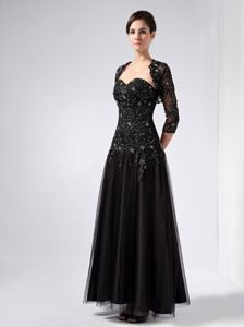 Sweetheart Ankle-length Prom Dress in Black with Beading and Appliques
