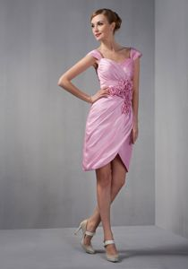 Rose Pink Mini-length Dress for Prom with Ruches and Flowers in Butler