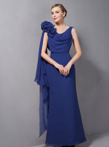 Navy Blue V-neck Empire Prom Gown with Hand Made Flower in Auburn