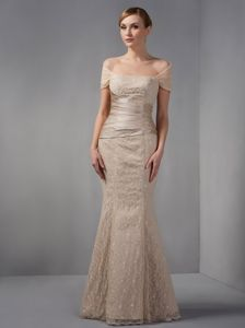 Champagne Off the Shoulder Mermaid Prom Dress with Beading in Athens