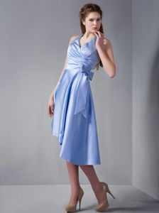 Affordable Light Blue Halter High-low Prom Attires with Bowknot in Arab