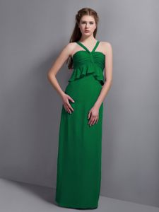 V-neck Floor-length Empire Prom Dress in Green with Ruches in Keyport