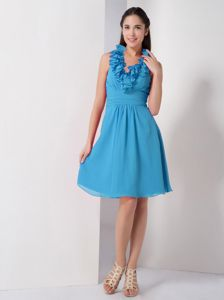 Sky Blue Halter Prom Gown Dress in Knee-length with Ruffles under 100