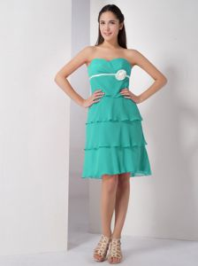 Ruffled Sweetheart Knee-length Prom Gown Dress in Turquoise in Lynden