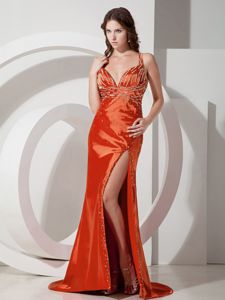 Discount Orange Red Straps High Slit Sheath Prom Attires with Brush Train