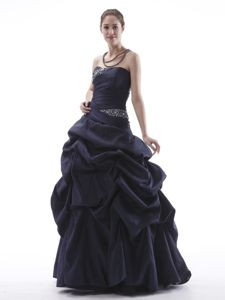 Best Navy Blue Strapless Mermaid Prom Gown in Floor-length with Beading
