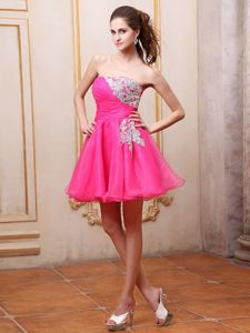 Ruched Strapless Mini-length Puffy Prom Dresses in Hot Pink with Beading