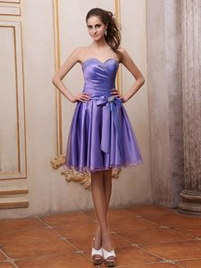 Purple Sweetheart Mini-length Prom Gown Dresses with Ruching and Sash