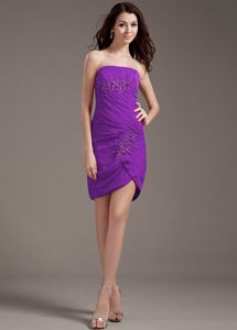 Simple Purple Strapless Mini-length Prom Outfits with Beading in Ferndale