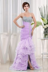 Lavender Beaded Mermaid Prom Dresses with Ruffles and Lace Up Back