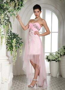 Baby Pink Sweetheart Beaded Prom Dresses with Longer Back and Sequins