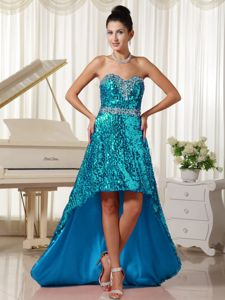Shimmery Aqua Blue Sweetheart Asymmetrical Dress for Prom with Sequins