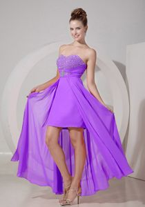 Sweetheart High-low Lavender Prom Gown Dress with Beading in Abbeville